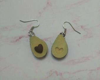 Avocado Earrings (Heart-shaped seed) - Polymer Clay