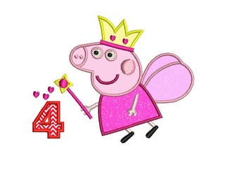 Peppa Pig 4th Birthday Applique Design - 2 sizes instant download
