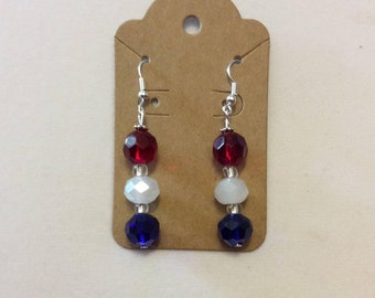 Earrings / Dangle / Red, white and blue / 4th of July / Beads 10mm