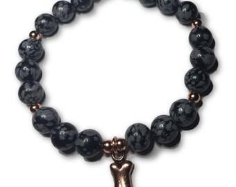 Animal Lover Dog Bone Charm Bracelet- Snowflake Obsidian And Shiny Copper