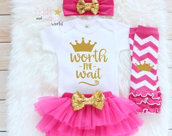 Newborn Girl Take Home Outfit, Baby Girl outfit, Baby Shower, New Baby Gift, newborn girl outfit, baby take home, worth the wait outfit T2HP