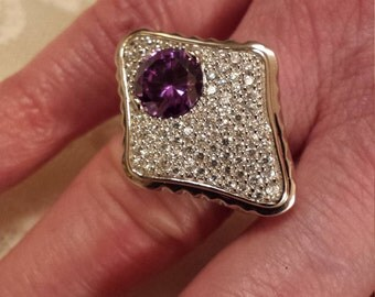 Vintage Amethyst & White Topaz Gemstone Large Art Deco Sterling Silver Ring, 2 ct.  Size - 7