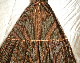 Vintage Brown Orange Striped Floral Off The Shoulder Hawaiian Bohemian Prairie Princess 70s Maxi Dress