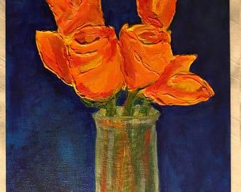 Fresh tulips in vase on blue: Original Acrylic on Canvas