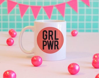 GRL PWR, Girl Power, feminist mug, feminist gifts, feminist travel mug, feminist water bottle, grl pwr water bottle