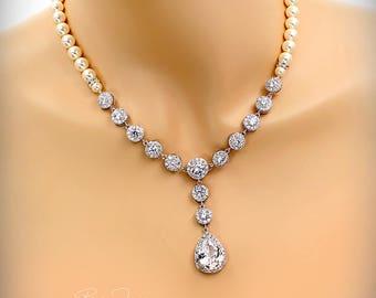Wedding Necklace Swarovski Pearl Zirconia Necklace Wedding Jewelry Bridal necklace Statement Necklace Bridal Jewelry Wedding Accessory