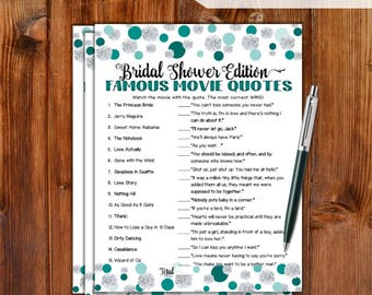 Famous Movie Quotes Match Game Bridal Shower Game - Jade Dots & Diamonds Theme Printable Movie Quotes Match Game - Bachelorette Party