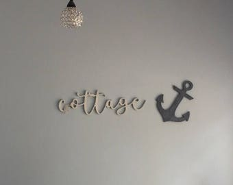 Cottage Nautical Anchor Wood Cut Out Cottage Decor Wall Art