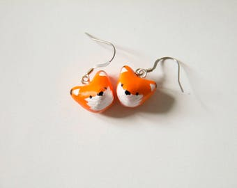 Fox, Fox, earrings, earrings, cute, animal, fimo, polymer clay, polymer clay