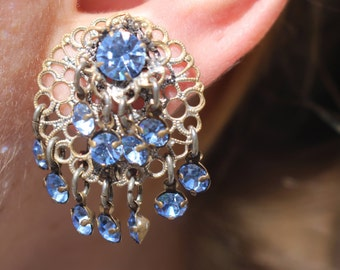 Unique Vintage Austrian Rhinestone and filligree metal design chandelier clip on earrings
