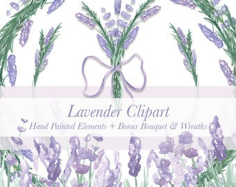 Lavender Watercolor Clipart, Digital Floral Elements in High Quality Watercolor, Transparent Background - lavender wreaths, bouquet, flowers