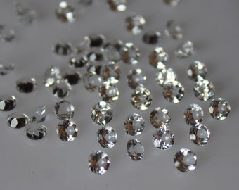 6 mm White Topaz round Faceted  Loose Gemstone AAA Quality