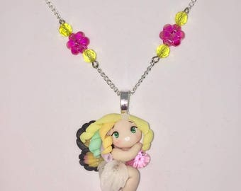 Medium necklace with pendant Rainbow Butterfly