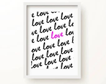 love love love art print | Romantic Bedroom Decor | Love Sign | Couples Gifts | Love Wall Art | Love Poster | Pop Art | Pink | Social Shanty