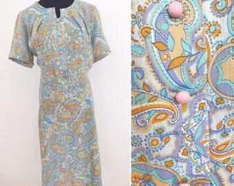 1960s Vintage Home Sewn Pastel Paisley Dress - 1970s Paisley Dress Groovy dress - 1960s Paisley Psychedelic Dress