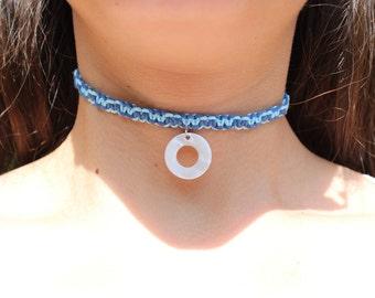 Blue Hemp Choker, Blue Beach Choker, Seashell Necklace, Blue Grunge choker