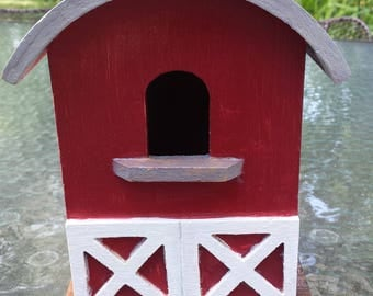 Gorgeous Handcrafted Scarlet Red Barn Birdhouse with Vintage Style Ads from Chi Wrigley Chewing Gum, TX Pearl Beer and Harley Davidson~Rare