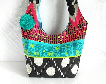 Handbag a hobo in colorful fabric, small tote bag women fabric tote bag, totebag, tote bag, handbag, canvas bag