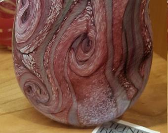 Pink Purple Swirl Isle of Wight Michael Harris Glass vase