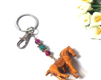 Keychain Horse Purple and Turquoise Beads - Brown Pendant Horse - Pendant Animal - Trinket - Gift for Children - Gift for Her / Him