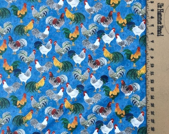 Quilting treasures Rise and Shine 24467 B Blue Rooster Chicken Cotton Fabric By the Yard