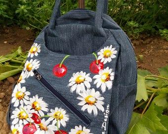 Cherries and Daisies Bagpack, Hadpainted Backpack, Cherries Bag, Cherry Backpack, Handpainted Cherry Bag, Denim Backpack, Denim Bag, Bag Art