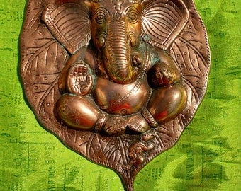 Large 13 inch Metal Copper Plated GANESH GANESHA Leaf Nature Wall Hanging Pooja Hindu Temple