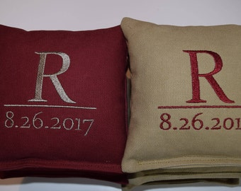 Custom Embroidered Wedding Cornhole Bags Set of Eight Regulation Bags - Pick Date, Initial and Colors - Sweet!