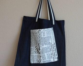 Denim tote with pocket