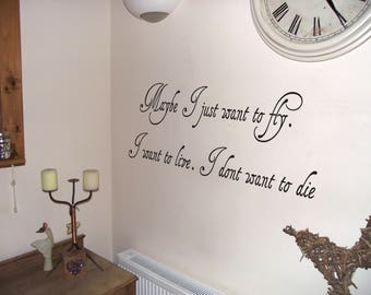Oasis Lyrics 'Maybe I just want to fly....'  Wall Art Quote Vinyl Decal Sticker
