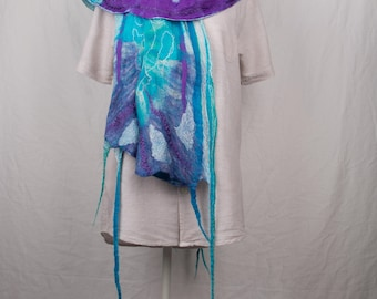 Nuno felted scarf, silk and merinowool in purple and blue/turqoise, reversible