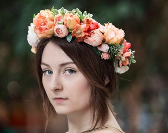 Peach Peony Silk Flower Hair Crown, with Roses, Ranunculus, Cabbage Roses, Dried Hill Flowers, Cherry Blossoms and Greenery