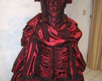 VICTORIAN bustle 1880 rep DELUXE couture DRESS sz 16