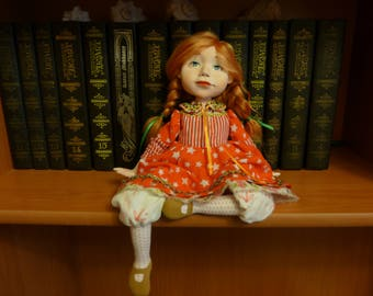 Author's, collectible, boudoir doll of polymer clay, a girl in freckles,