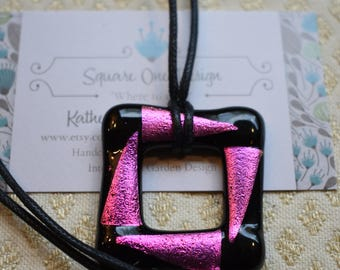 Hot Pink and Black Dichroic Square Glass Pendant