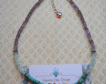 Delicate Amethyst, Auquamarine, Turquoise and Pink Stick Pearl Necklace