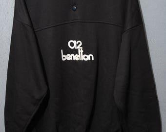 012 Benetton-Rare Sweatshirt sweat 90s vintage TG XXL E05