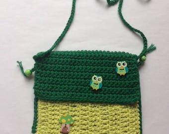 Green Owls Crochet Bag