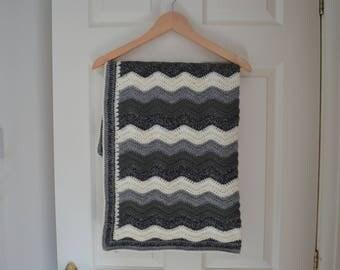 Handmade crochet baby blanket, toddler blanket, crochet ripple blanket, lap blanket.