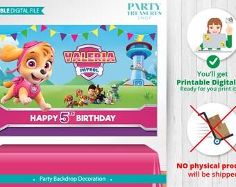 PAW PATROL PRINTABLE Digital Backdrop, Paw Patrol Birthday Backdrop, Party,Paw Patrol Birthday Banner,Paw Patrol Poster, Paw Patrol Girl, vA