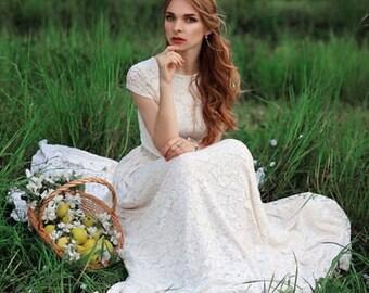 Boho wedding dress, Lace wedding dress, Bohemian wedding dress, Open back wedding dress, Ivory wedding dress. Inessa
