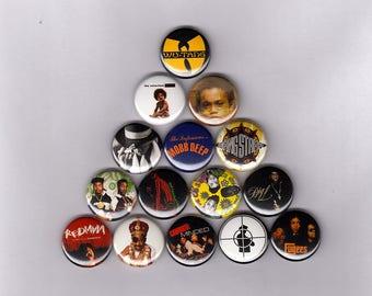 "Hip Hop 1"" Pins/Buttons w/  Wu Tang, Notorious B.I.G., Nas, Jay Z, Mobb Deep, A Tribe Called Quest, De La Soul & More (record lp shirt)"