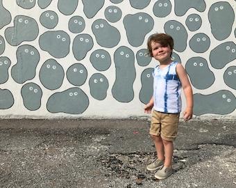 Hand-dyed Indigo Toddler Tank; Unisex Toddler Tank; Toddler Girl Tank; Toddler Boy Tank