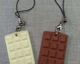 Mini bar of chocolate with milk or white