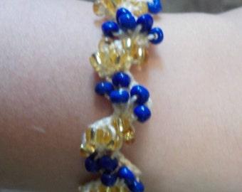 Royal Blue and Gold Beaded Crochet Bracelet