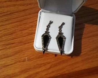 Vintage Sterling .925 Post Earrings With onxy And Marcasite