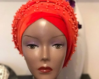 Fully beaded Double Turban with Mesh net