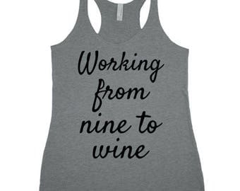 Working from nine to wine TRi-Blend Racerback Tank Top