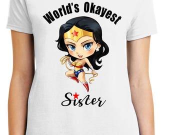 Big Sister, Little sister, wonder woman, gift, tshirt, bridal, lil sis,