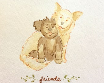 Custom Original Watercolor Illustrated Pet Dog Portrait: Cartoon Style